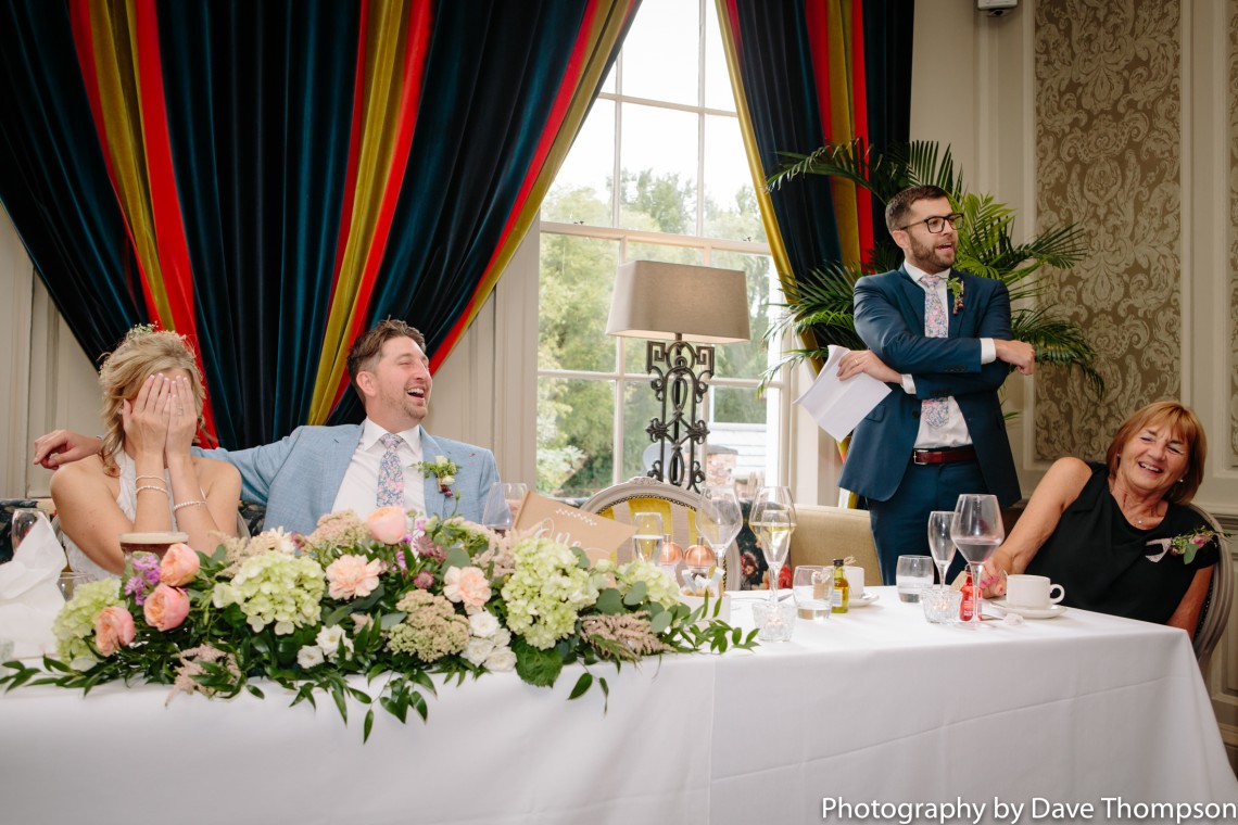 Best mans speech during the wedding breakfast at Residence, Nantwich