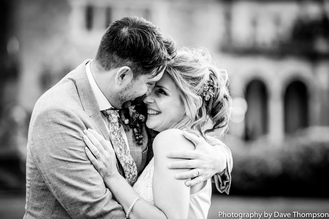 Newlyweds at Crewe Hall after their wedding day