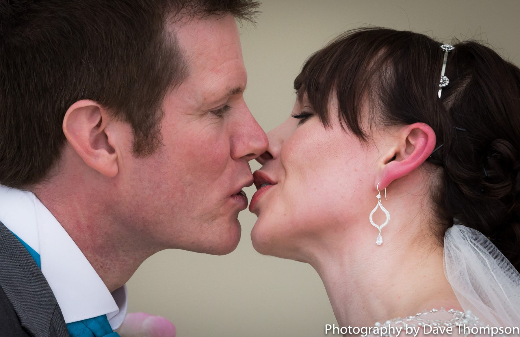 First kiss for the bride and groom