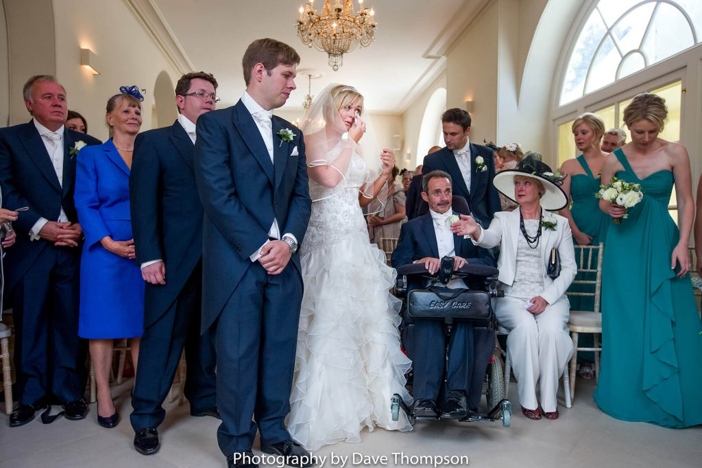 Tears as the bride arrives for her ceremony