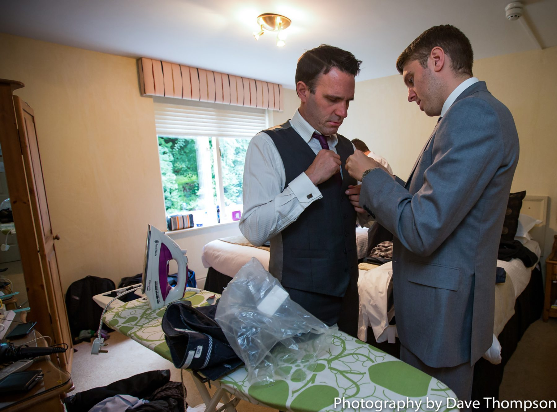 The groom and his best man get ready