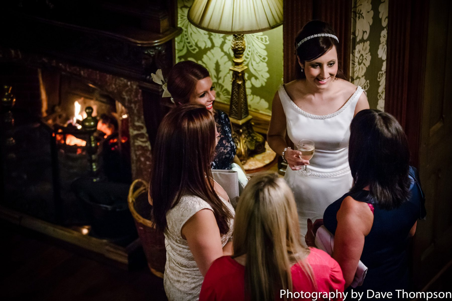 The bride talks to guests