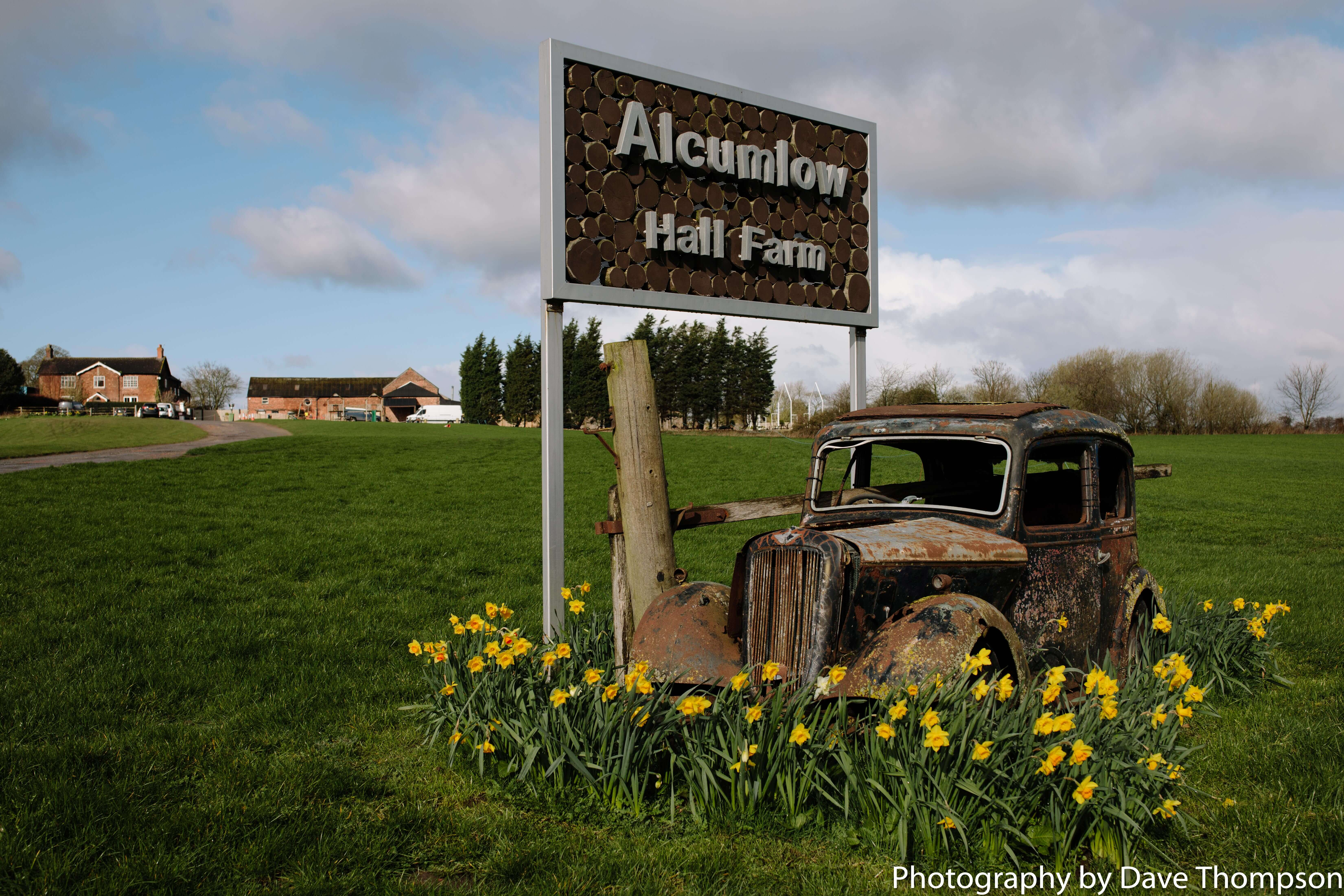 The old car at the from of Alcumlow Wedding Barn