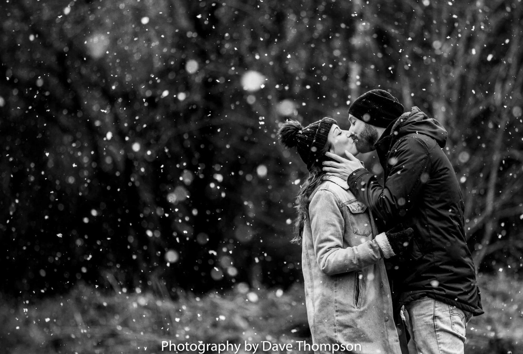 Snow during a pre wedding shoot