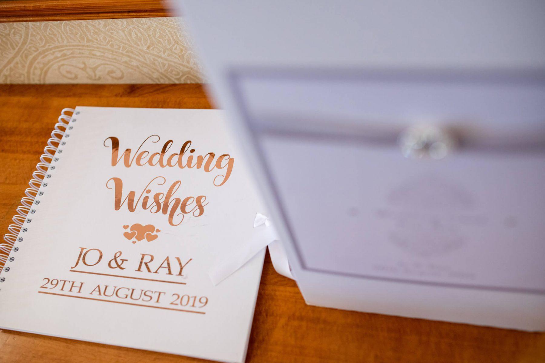 Wedding stationary at the wedding venue.
