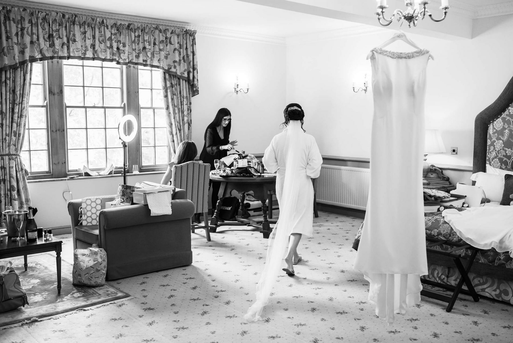 The bride and her bridal parry get ready