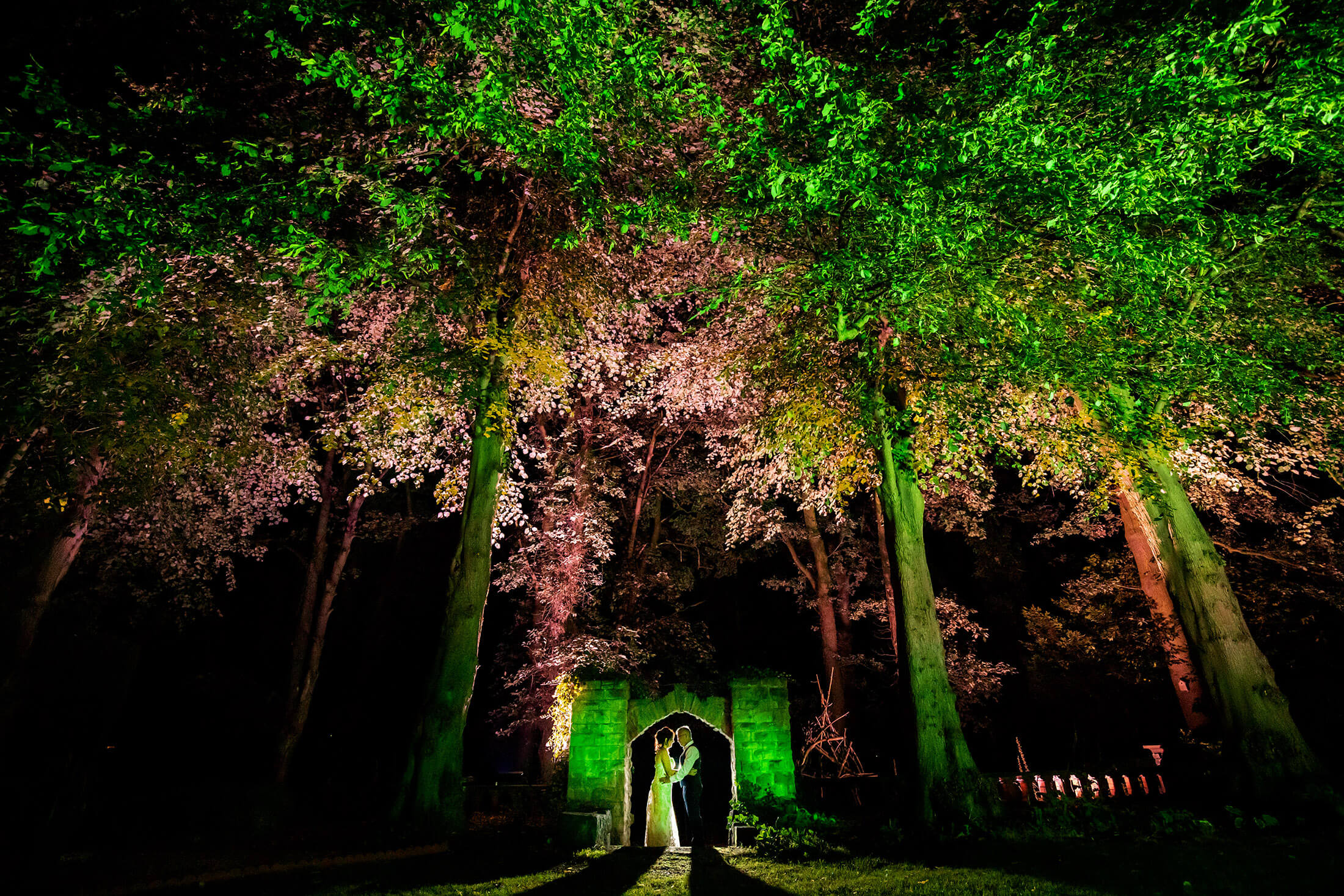 A portraint of the brde and groom following their wedding at the home in Alsager, Cheshire. Alsager wedding photographer.