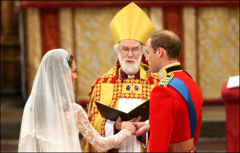 William and Kate being married at Westminster Abbey