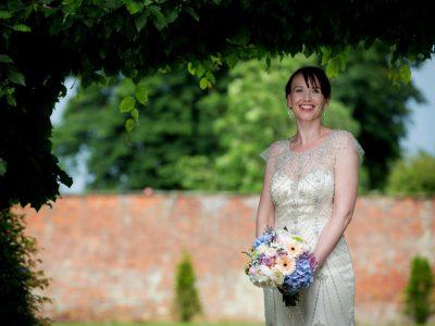 Bridal portrait in the Abbey Gardens