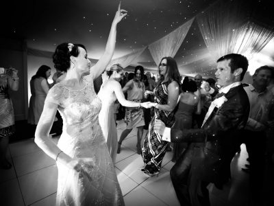 Black and white image of the first dance