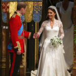 Prince William and Kate Middleton after signing the register at Westminster Abbey
