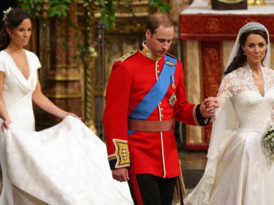 The bride and groom leave Westminster Abbey