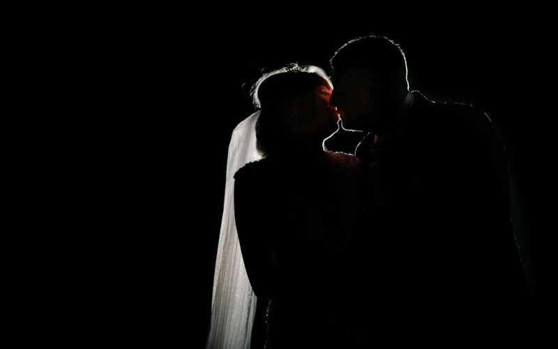 Bride & Groom portrait at night
