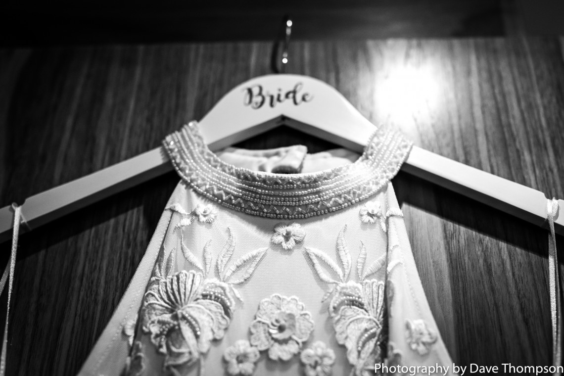 Bridal gown hung