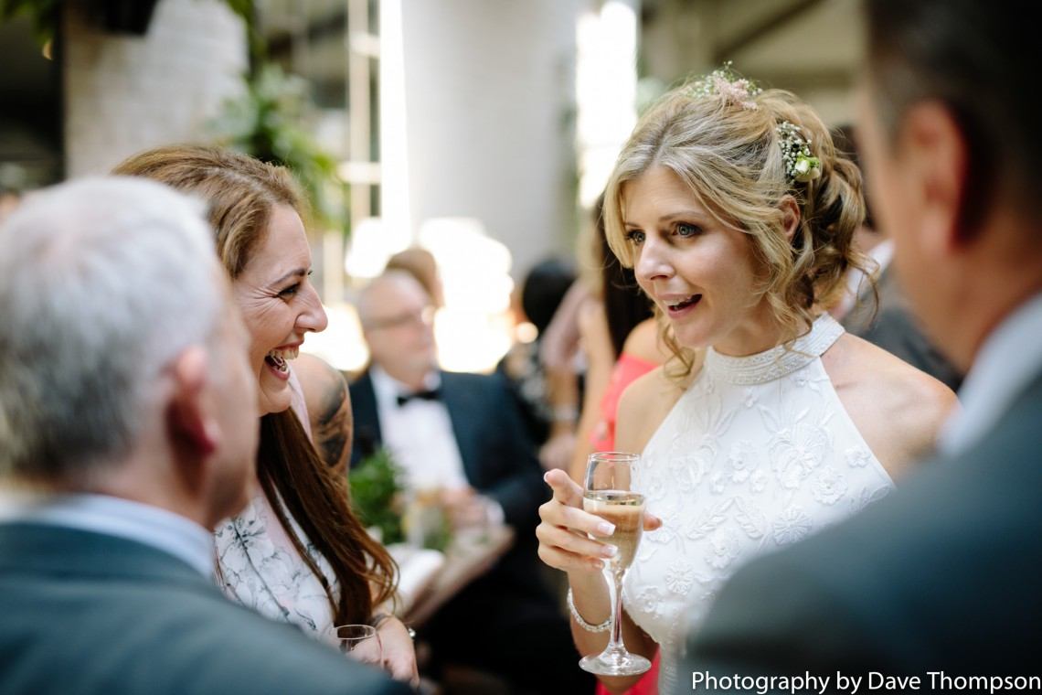 The bride talking to guests