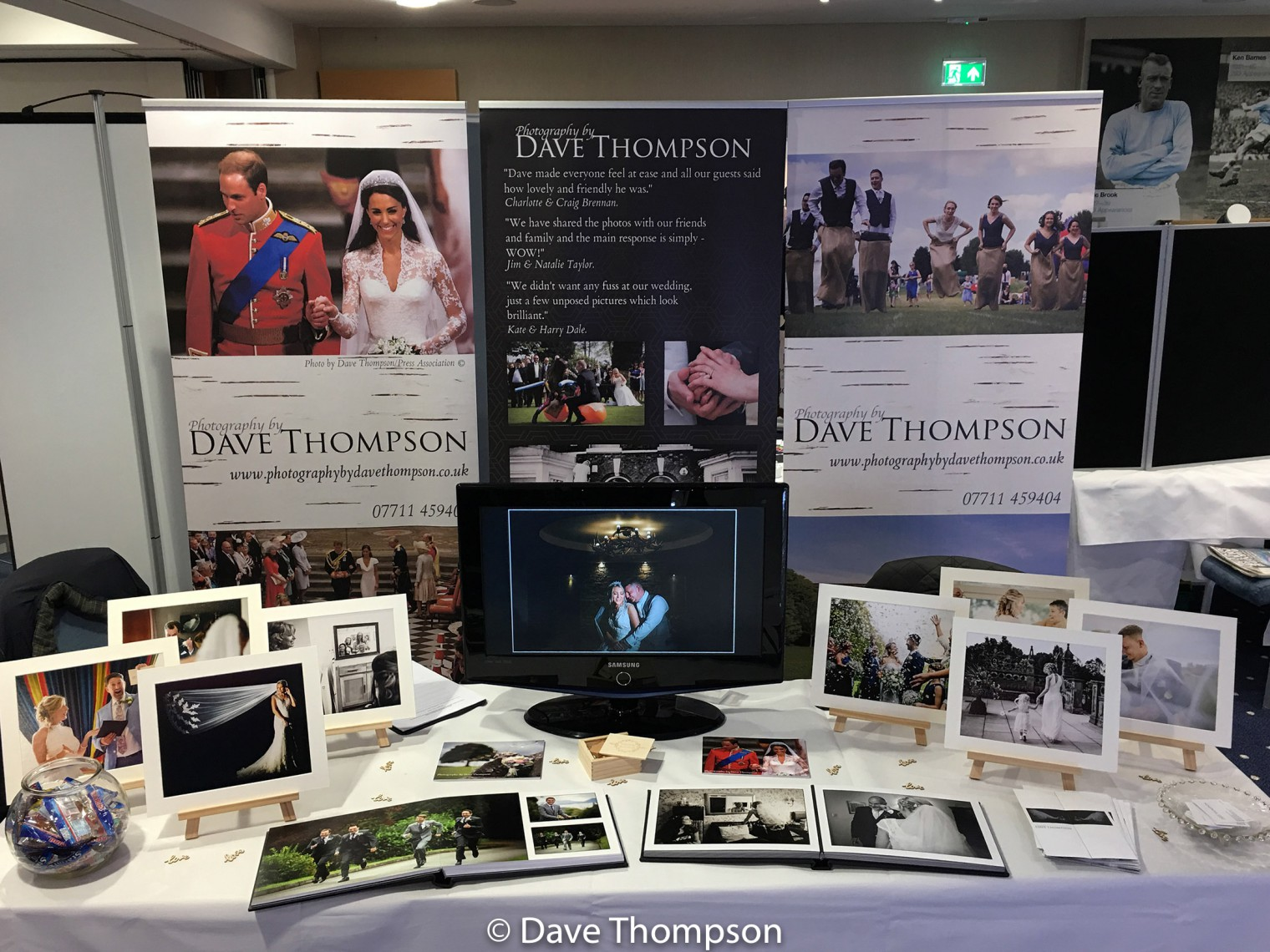 My wedding photography stand at the Etihad Stadium Wedding Fayre
