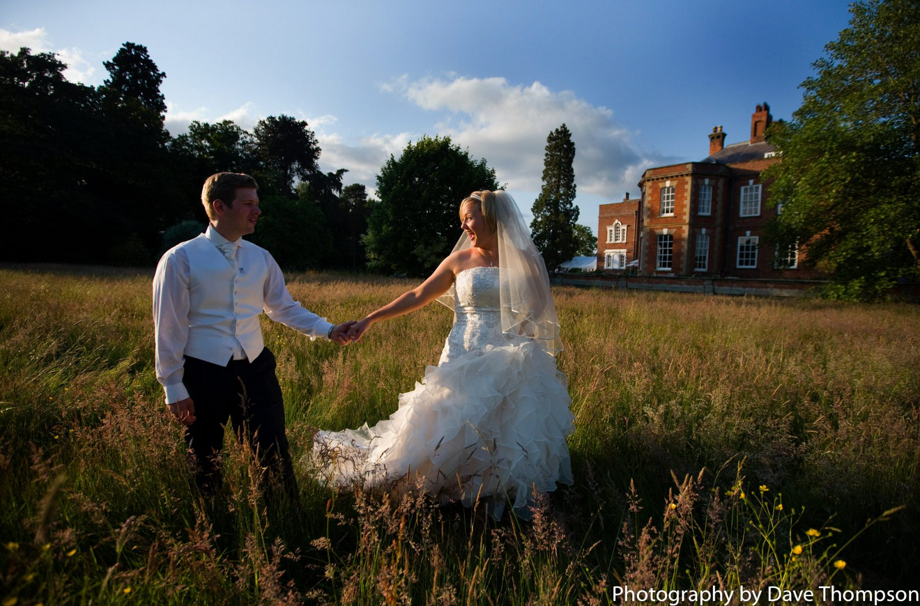 Bride and groom in the long grass at Iscoyd Park