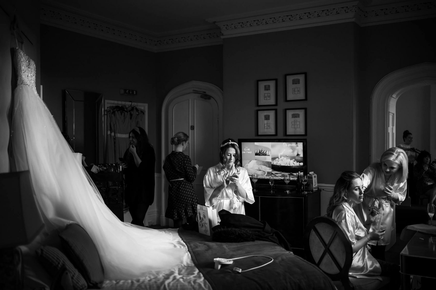 Bridal prep at Hollin Hall Hotel in Cheshire