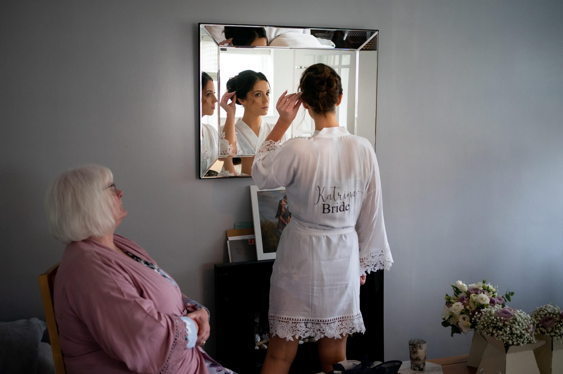 The bride getting ready for her Manchester wedding at home