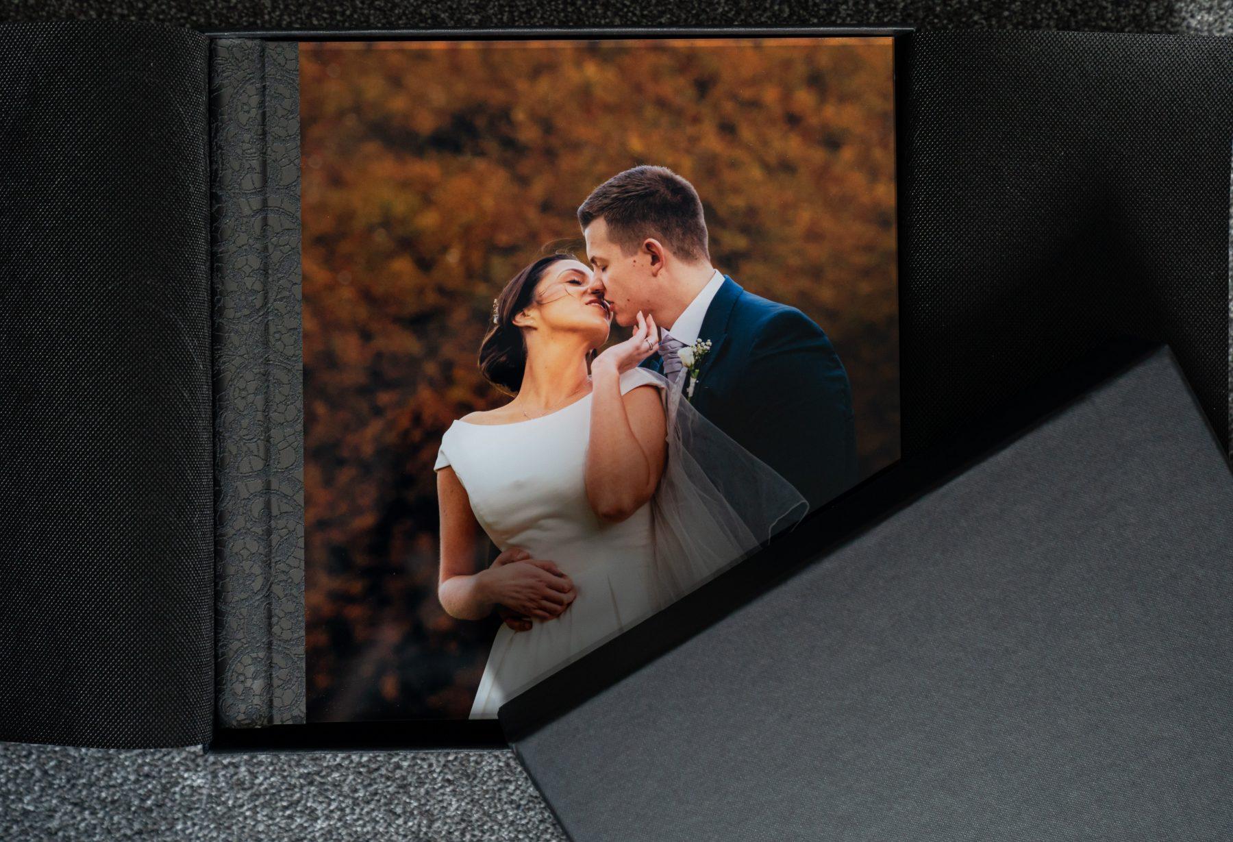 The cover of an acrylic wedding album
