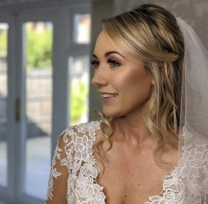 A Bride with her hair and make up done by Nikki Jaye make up and Dirty Blondes Hair Design