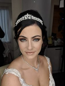 A fully made up Bride completed by Stockport make up artist Nikki Jaye and Dirty Blondes Hair Design