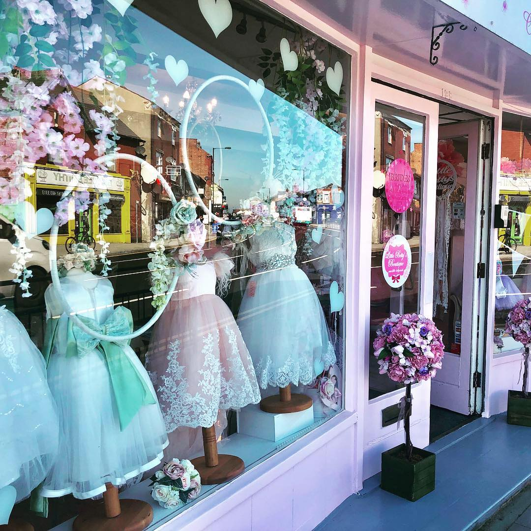 The exterior window of  Little Betty's boutique in Hazel Grovw who suppliy flower girl dresses and communion dresses