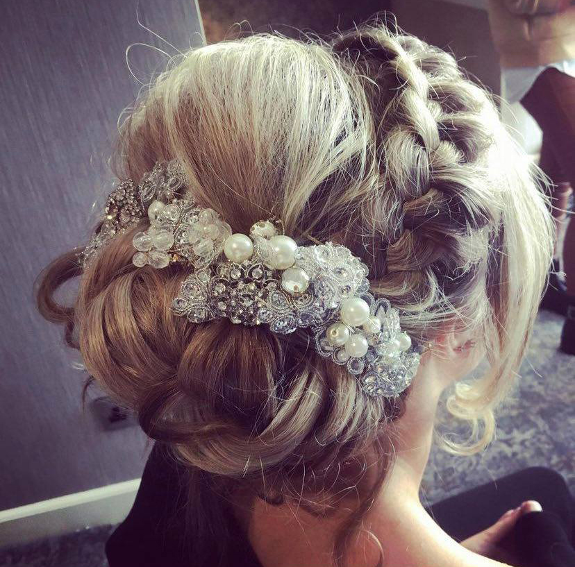 A close up picture of bridal hair