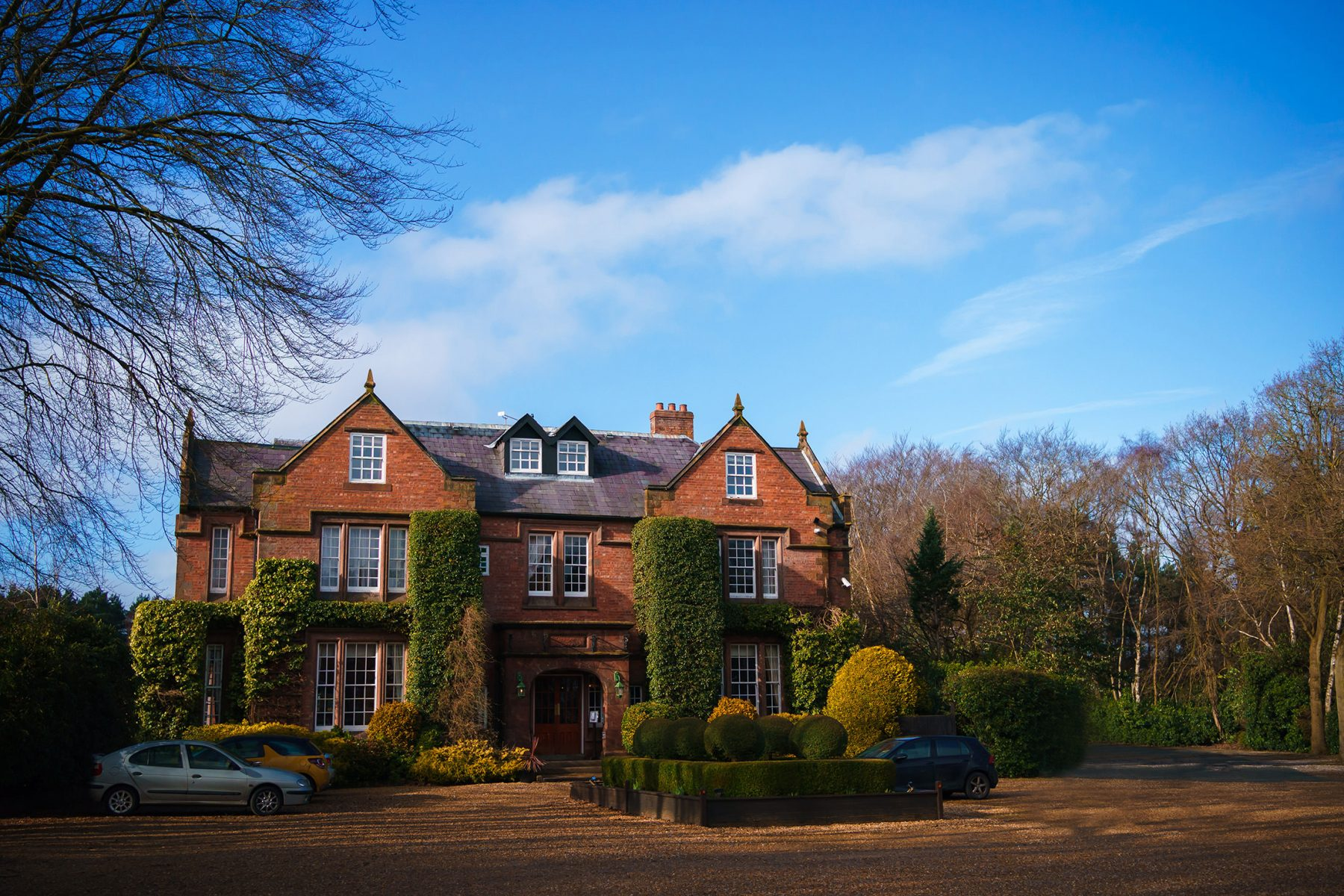 A picture of the front of Nunsmere Hall in Cheshire - Country House weddings at Nunsmere Hall