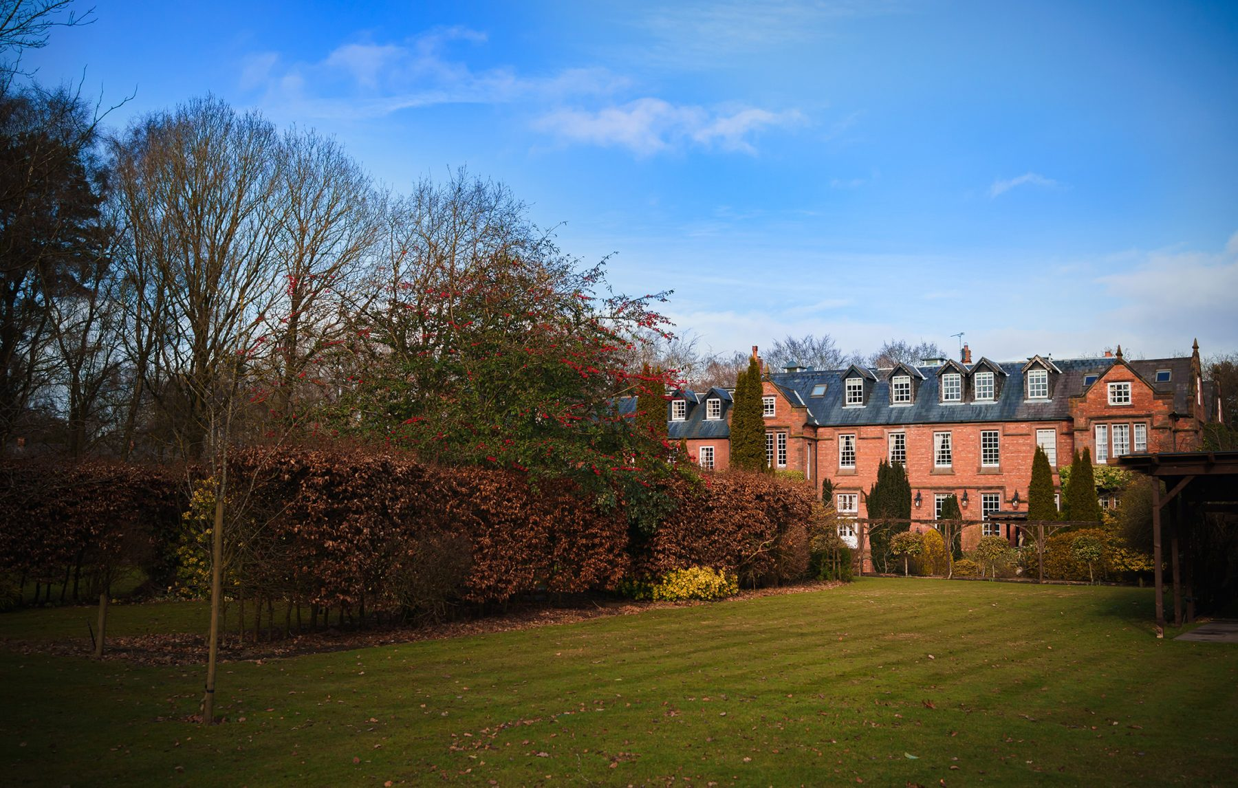A picture of the rear of Nunsmere Hall in Cheshire - Country House weddings at Nunsmere Hall