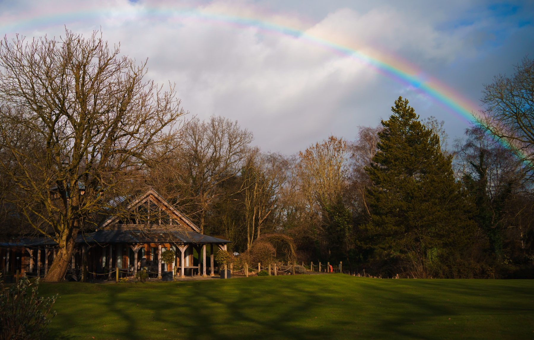 A rainbow over the The Oak Tree of Peover in Knutsford